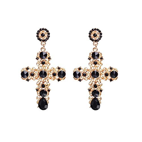 feilai Pendientes largos vintage de cristal negro rosa con cruz para mujer, estilo barroco, bohemio, grandes pendientes largos (color metálico: NO.2)