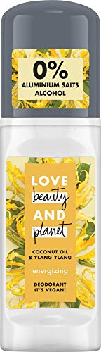 Love Beauty And Planet Energizing Deo Roll-On voor de okselverzorging Coconut Oil & Ylang Ylang Flower zonder aluminium, 1 stuk (50 ml)