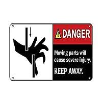 インチの危険可動部品は重傷を引き起こします錫サインヴィンテージ面白い生き物鉄の絵金属板人格ノベルティ