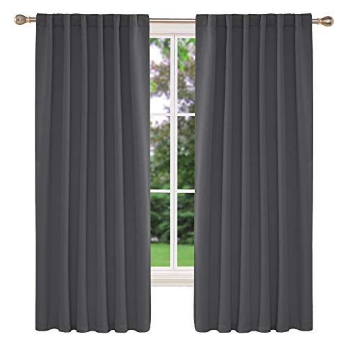 Deconovo Rod Pocket and Back Tab Curtains Room Darkening Curtain Blackout Thermal Insulated Window Curtains for Boys Room 52x63 Inch Dark Grey 2 Panels