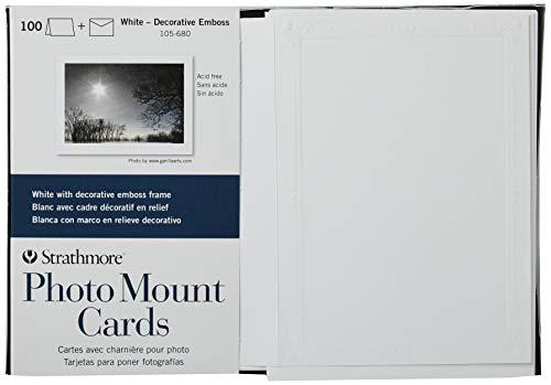 Strathmore 105-680 Photo Mount Cards, White Decorative Embossed Border, 100 Cards & Envelopes