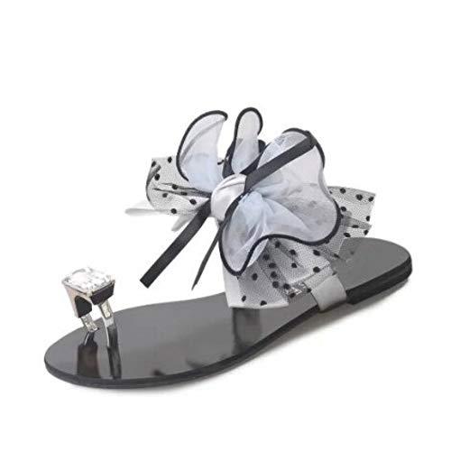 MagicXle Summer Fashion Flip Flops Zapatos de Playa Sexy Casual Big Bow Flor Sandalias Planas Mujeres al Aire Libre Zapatillas de casa