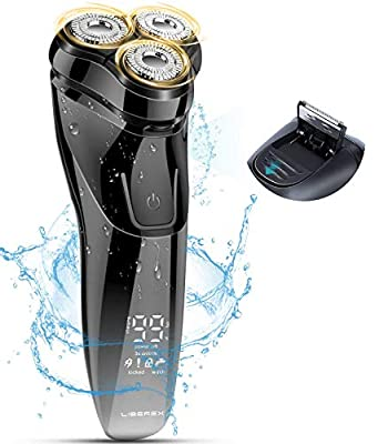 Liberex 3D Floating IPX7 Electric Rotary Razor for Men with Smart LCD Screen - Wet & Dry USB Rechargeable Electric Shaver with Pop-up Beard Trimmer, 1200mAh Large Battery