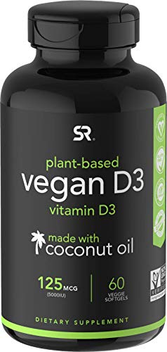 Vegan Vitamin D3 (5000iu/125mcg) Enhanced with Organic Virgin Coconut Oil ~ Bone, Joint and Immune System Support ~ Vegan Certified, Non-GMO & Gluten Free (60 Veggie-Softgels