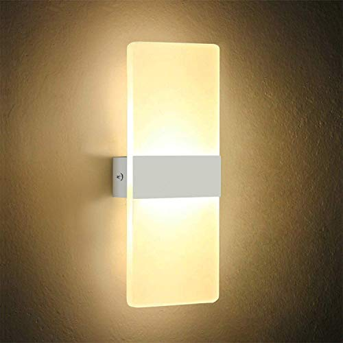 OOWOLF LED Aplique de Pared Interiores, 6W Lámpara de Decoración Moderna de Acrílico Lampara de Pared de Arriba y Abajo Perfecto para Pasillo Sala de estar Dormitorio Escaleras Blanco cálido