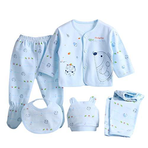 Ubrania dla niemowląt chłopiec dziewczynki ubrania stroje, 5 szt. zestaw bielizny nocnej z długim rękawem topy czapka 2 szt. spodnie śliniak zestaw ubrań prezent dla 0-3 miesięcy noworodka