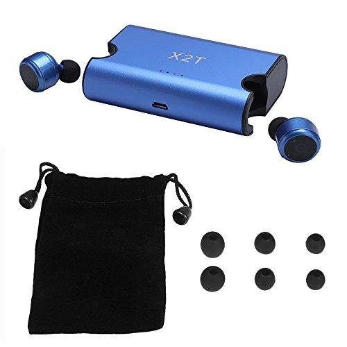 Gamogo X2T Auriculares inalámbricos Verdaderos de BT En-oído estéreo BT 4.2 Deporte Auriculares Música Manos Libres con micrófono 1500 mAh Azul de Carga Compatible with el Ejercicio de Gimnasia