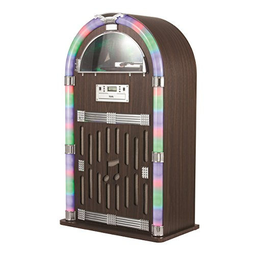 iTek Floorstanding Jukebox with Record Player, Bluetooth Connectivity, FM Radio, CD Player and Colour-Changing LED Lights, Remote Control Included, Wood Finish, BROWN