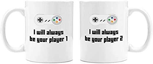 I Will Always Be Your Player 1 set of 2 mugs| 11oz Premium Coffee Mug Set - PC Gamer Gifts for men, Birthday, Joke Gamer, for Kids, for Girls, for Boys, ps4, xBox, 360, Computer, Teens, Boyfriend