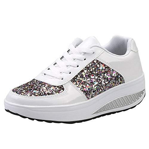 manadlian Chaussure Compensee Plateforme Baskets Mode pour Femmes Confortables et Respirants Lacets Sneakers Casual Baskets Talon 3.5CM Loafers Plateforme Bottes