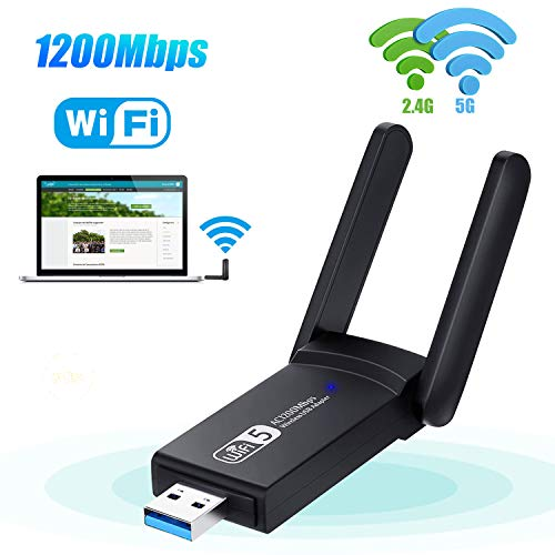 KagoLing WLAN Adapter, kabelloser USB WLAN Dongle 1200Mbps Dual-Band 2.4G/5G USB 3.0 WiFi Stick Mini Netzwerkkarte für PC Desktop Laptop, unterstützt Windows 10/8/7/Vista/XP/2000, Linux, Mac OS X 10