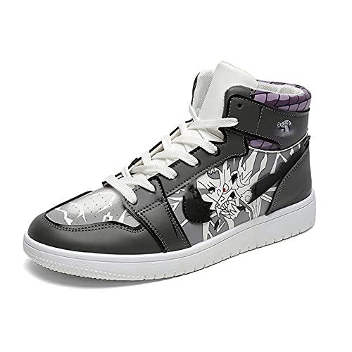 Desk Zapatillas de Baloncesto Naruto Sasuke Anime, Zapatillas de Baloncesto con Cordones y Estampado de Dibujos Animados Hombre, Zapatos Casuales de Moda 39-44