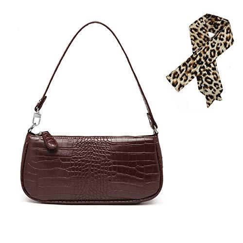 SUGARBABY 90er Jahre Umhängetasche Damen, Retro Umhängetasche Bag, mit schickem Krokoprägung-Druck Crossbody Taschen, Damen Schultertasche, 5 Farben Shoulder Crossbody Mini Bag (Braun-Kleine)