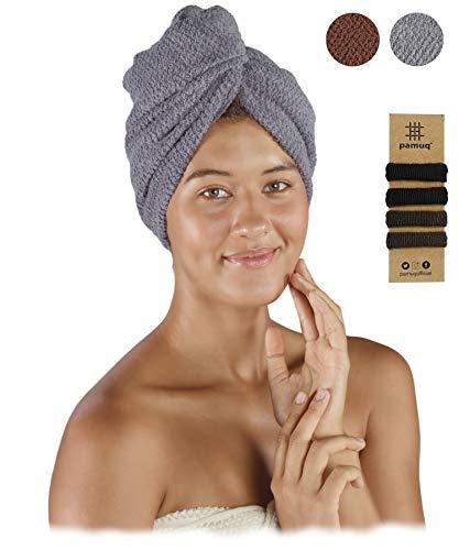 pamuq® Haarturban schnelltrocknend 100% Baumwolle | 2er Set | mit 2 Knöpfe | inkl. 4X Haargummis | Dry-Ban Haartrockentuch Turban Handtuch Haarhandtuch Handtuch Hair Towel Wrap