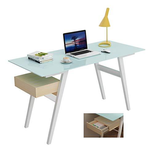 Escritorio de escritorio moderno de cristal templado simple para computadora con escritorio para fumadores (color: azul, tamaño: 140 x 60 x 70 cm)