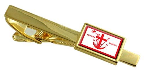 Psara Città Bandiera della Grecia Gold Clip inciso personalizzato