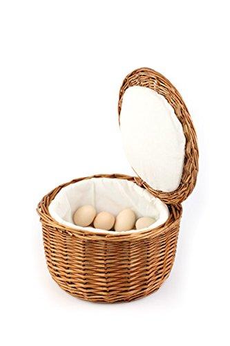 APS Eierkorb, hellbeiges Eikörbchen, Eierbehälter, stabile Vollweide, für ca. 20 Eier, hält den Inhalt durch das Stoff-Futter Lange warm, Durchmesser Ø 25 cm, Höhe 17,5 cm