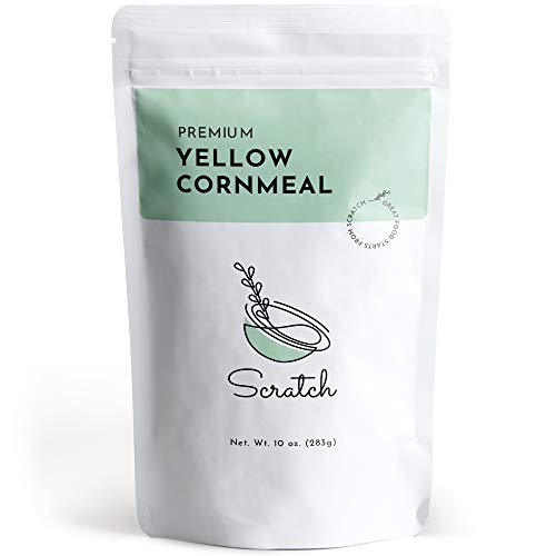 Scratch Premium Yellow Cornmeal - (10 oz) Dry-Ground Cornmeal for Baking Cornbread, Muffins, Tortillas, and Pancakes, and More