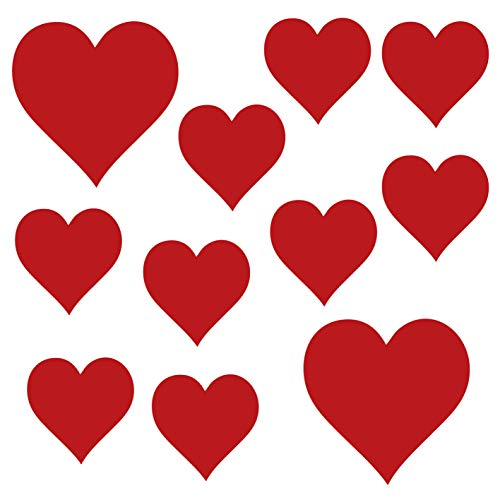 kleb-Drauf®   11 Herzen   Rot - matt   Wandtattoo Wandaufkleber Wandsticker Aufkleber Sticker   Wohnzimmer Schlafzimmer Kinderzimmer Küche Bad   Deko Wände Glas Fenster Tür Fliese