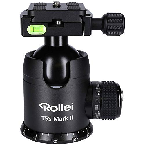 Rollei T5S Mark II - professioneller 360 Grad Kamera Stativ Kugelkopf mit Friktion, 30KG Tragkraft, Skalierung für Panorama Aufnahmen, 2 Wasserwaagen Inkl Arca Swiss kompatibler Schnellwechselplatte
