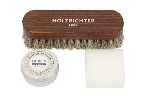 HOLZRICHTER Berlin Lederpflege-Set - Premium Lederaufbereitung mit Lederfett, Rosshaarbürste und Auftragsschwamm - 30 ml
