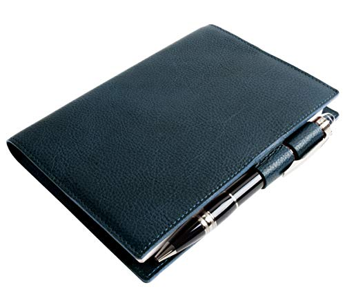 [Dom Teporna] 手帳カバー A6サイズ 手帳 文庫本 2021年 ほぼ日手帳対応 本革 イタリアンレザー ブックカバー メンズ レディース ペンホルダー付き ネイビー