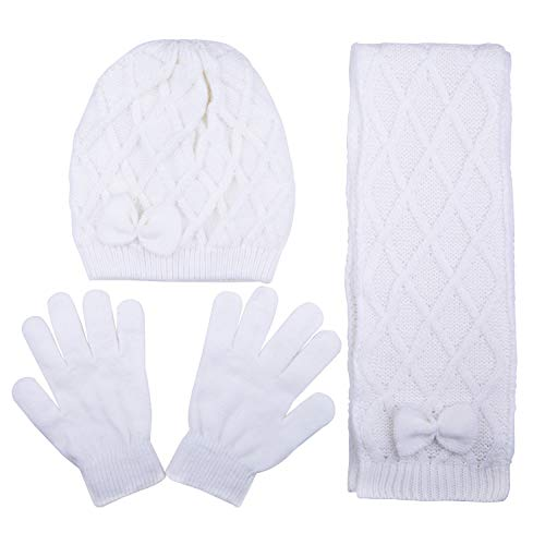 Kids Criss Cross Winter Knit Hat with Bow, Scarf and Glove Set White for Girls