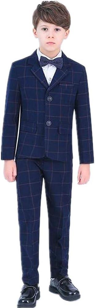 5 Pieces Boy Suits Plaid Tuxedo Slim Fit Peak Lapel (Jacket+Pants+Shirt+Vest+Bowtie) Party Performance