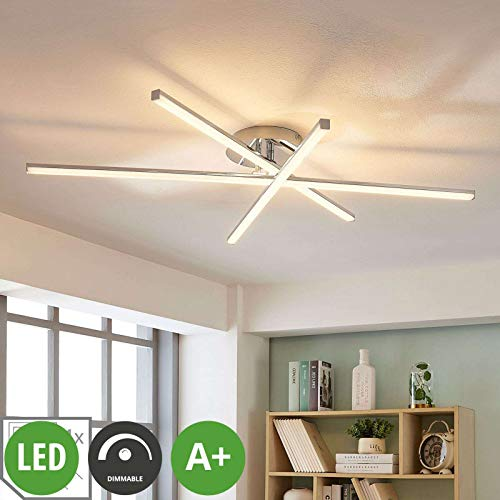 Lindby LED Deckenleuchte \'Korona\' dimmbar (Modern) in Chrom aus Metall u.a. für Wohnzimmer & Esszimmer (3 flammig, A+, inkl. Leuchtmittel) - Lampe, LED-Deckenlampe, Deckenlampe, Wohnzimmerlampe