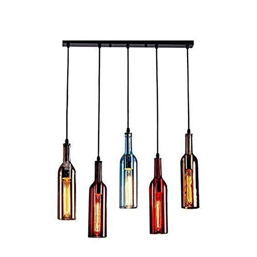LED Hängende Flasche Licht,Kronleuchter Glasflasche Pendelleuchte Geeignet Für Restaurant Bar Bekleidungsgeschäft Cafe Bar,Glass