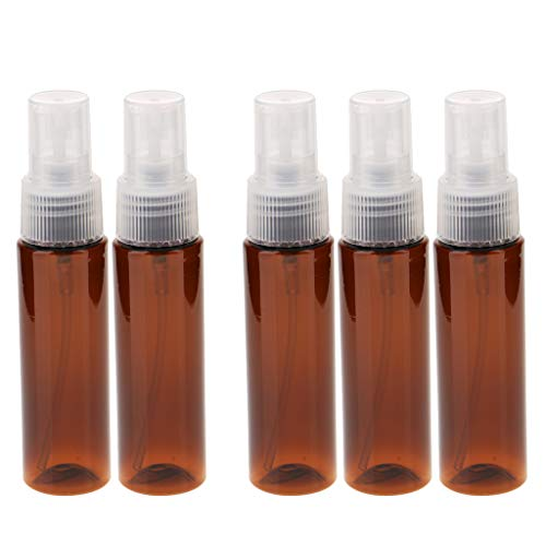 D DOLITY 5pcs 30ml Bouteille Vaporisateur Vide en Plastique Rechargeables, Pulvérisateur en Brouillard pour Parfum Lotion Jardinage Coiffure Cheveuxe - Marron