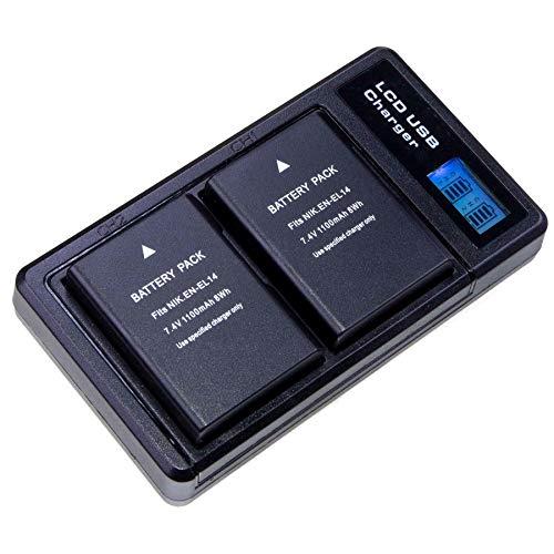 Lumos - Batería para cámaras Nikon (1100 mAh, Equivalente a EN-EL14, EN-EL14a, Compatible con cámaras D5600, D5500, D5300, D5200, D5100, D3500, D3400, D3300, D3200, D3100)
