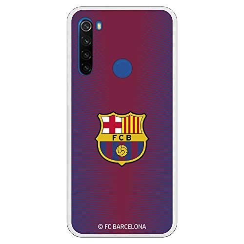 Funda para Xiaomi Redmi Note 8T Oficial del FC Barcelona Barcelona Fondo Rojo Escudo Color para Proteger tu móvil. Carcasa para Xiaomi de Silicona Flexible con Licencia Oficial del FC Barcelona.