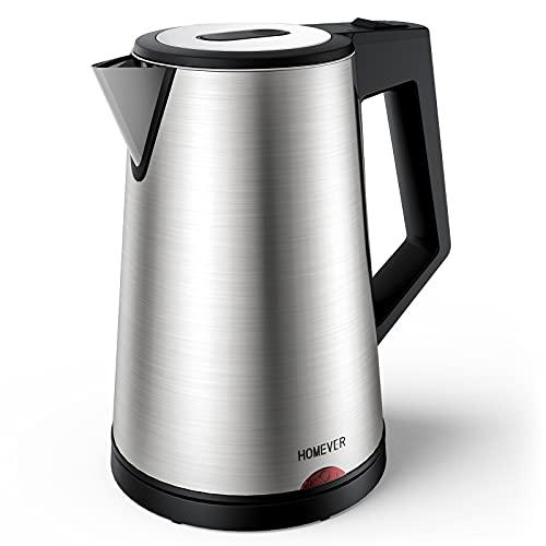 Wasserkocher Edelstahl Elektrischer Wasserkessel 1,7 Liter, 1800W der Doppelwandige Edelstahlkessel Auto-off & Trockenlaufschutz, ideal für Kaffee, Tee, Haferflocken, Babynahrung von Homever, BPA-Frei