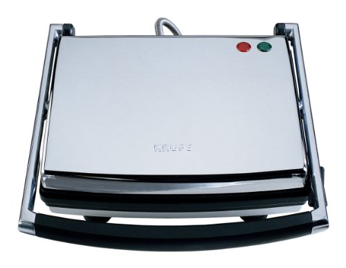 KRUPS FDE312 Universal Grill and Panini Maker with Nonstick Cooking Plates, Silver