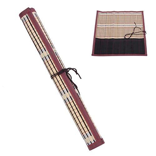 Atyhao 6 Slots Paint Brush Rollenhalter, Aquarell Ölgemälde Pinselhalter Maler Pinsel Bambus Rollsack Kalligraphie Pen Case Vorhang Pack Art Supplies