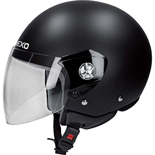 Nexo Jethelm Motorradhelm Helm Motorrad Mopedhelm Demi Jet Helm City Mattschwarz M, Unisex, Chopper/Cruiser, Ganzjährig, Thermoplast, matt schwarz