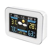 WIFIウェザーステーションインターネット、屋内温度計湿度計デジタルスヌーズクロック、気圧計、湿度モニター、日の出日没LCDカラースクリーンディスプレイAPPコントロール