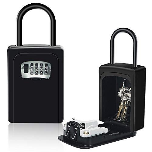 HUSAN Caja de cerradura de llave con grillete, montado en la pared almacenamiento segura de llave con cerradura exterior para el garaje del hogar Llaves de la casa de repuesto de la escuela (Negro)