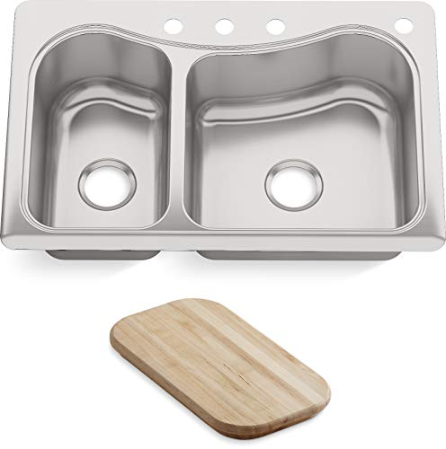 KOHLER K-3361-4-NA Staccato Dual Large/Medium Self-Rimming Kitchen Sink, Stainless Steel