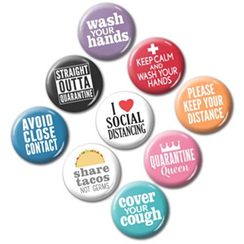 9 Mini Buttons Flu Awareness - 1 Inch, Keep Calm, Wash Hands, Social Distancing Self-Quarantine, Isolation, Introvert - Design 6981