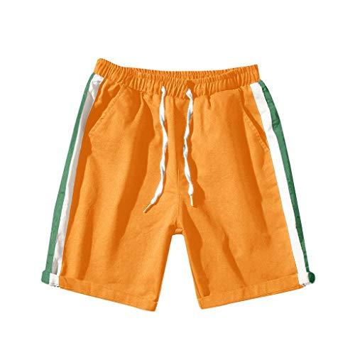 FRAUIT Mannen modieuze gestreepte patchwork shorts casual korte sportbroek 100% katoen broek zomer mannen strepen losse denim shorts kleurblok stretch zacht lopen joggingbroek