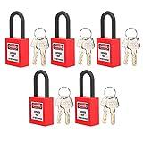 Candado de seguridad, cerraduras de etiquetado de bloqueo de resistencia a la abrasión para aplicaciones de bloqueo(rojo)