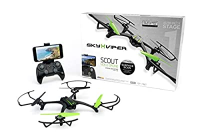 Sky Viper Scout Streaming Video Drone, Black/Green