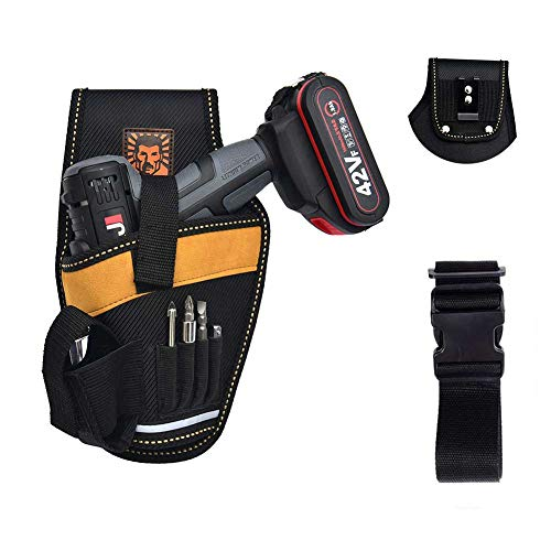 LO'MASTER Heavy-Duty Drill Holster with Adjustable Waist, Tool Belts for Fixing 4 Commonly Used Screwdrivers and Power Drills, The Tool Belt Bag with a Spare Battery