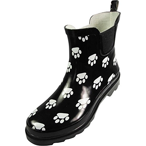 NORTY - Womens Ankle High Paw Printed Rain Boot, Black, White 39720-9B(M) US