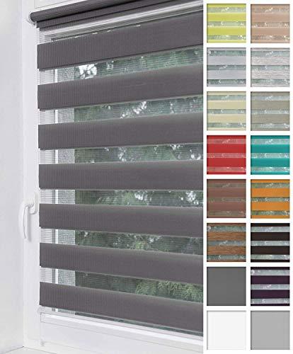 Home-Vision® Duo Rollo Klemmfix, Doppelrollo ohne Bohren mit Klämmträgern, Rollos für Fenster und Türen (Graphit, B65cm x H150cm)