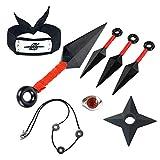 I3C - Juguetes de Naruto, Diadema de ninja, arma, Konoha, aldea de la hoja, ninja, 8 juguetes de plástico
