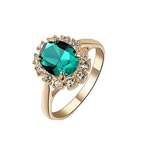 HFJ&YI&H 18k oro rosa placcato smeraldo verde/blu/rosso anello elegante dei monili , 7