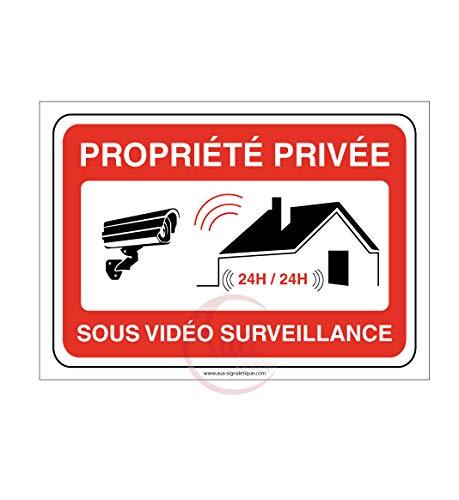 AUA SIGNALETIQUE - Panneau PROPRIÉTÉ PRIVÉE sous vidéo Surveillance 24h/24-150x105 mm, Aluminium 3 mm